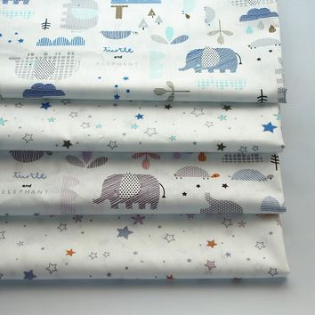 Diy Twill Cotton Fabric Quilting Baby Cloth Kids Bedding Patchwork Tissue Home Textile Sewing Craft Cartoon Elephant Stars Print