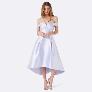 Willow Bardot Hi-Lo Prom dress Evening Haze - Womens Fashion | Forever New