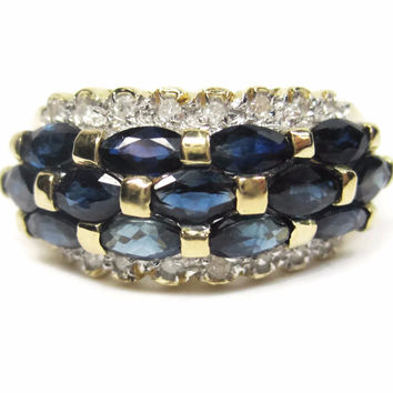 Vintage 14k Yellow Gold Sapphire Diamond Cluster Ring Size 7