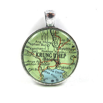 Vintage Map Pendant of Bangkok, Thailand, in Glass Tile Circle