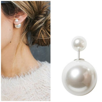 Christmas Double Pearl Earring - Dior Double Pearl Earring Inspired - Mise en Pearl Earrings - Wedding Pearl Earrings -  Bridesmaid Gift