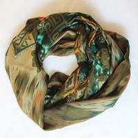 tribal green infinity scarf, scarf, scarves, long scarf, loop scarf, gift