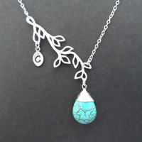 Turquoise, branch, sterling silver, initial necklace, personalized necklace, turquoise necklace, modern, family necklace, for mom, for her