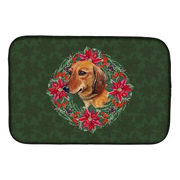 Dachshund Poinsetta Wreath Dish Drying Mat CK1518DDM