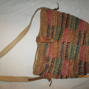 Vintage 1970's womans African style colorfull woven hemp bag