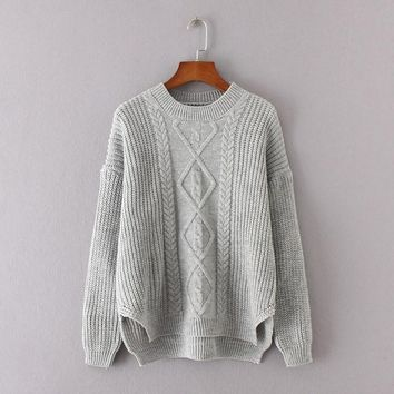 Cable Knit Irregular Dip Hem Sweater