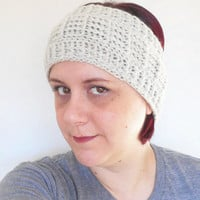 Crochet Ear Warmer Headband in Natural Off White, ready to ship.
