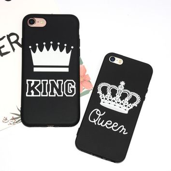 Matte Soft Phone Case for iPhone 6 Case for iPhones 5s 5 6s Cover KING Queen TPU Slim Silicone Case for iPhone 7 8 Plus Coque