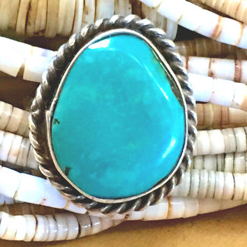 Turquoise Ring Sterling Silver Southwestern Boho