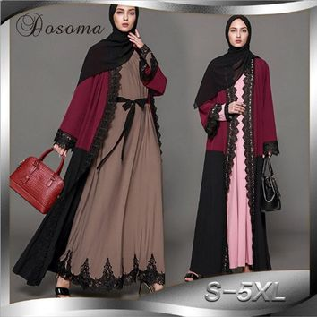 Casual Muslim Women Abaya Lace Cardigan Maxi Dress Patchwork Tunic Robe Jalabiya Patch Loose Middle East Arab Islamic Clothing