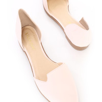 Pink Pointed Closed Toe Slip On Flats Nubuck