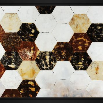 Honeycomb II 28L X 28H Floater Framed Art Giclee Wrapped Canvas