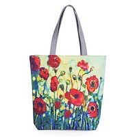 Floral Printed Canvas Tote Female Single Shopping Bags