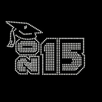 2015 Block With Graduation Cap Rhinestone Transfer Iron On DIY Bling 34212