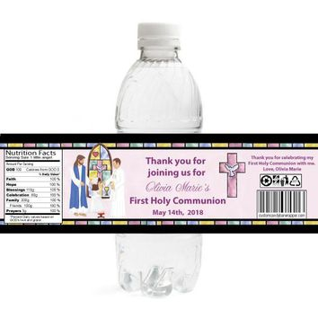 Stained Glass Girl 1st Communion Water Bottle Labels