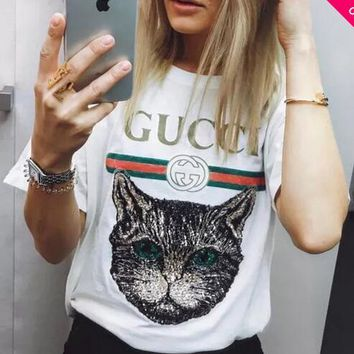 GUCCI Catwalk Model T-Shirt Embroidery Sequin Cat Shirt Tunic Blouse Trending Top