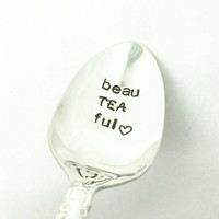 Beau Tea ful Stamped Spoon, Gift for Tea Lover, Tea Gift, Gift for Mom, Gift for Friend, Gift for Grandma, Gift for Nana