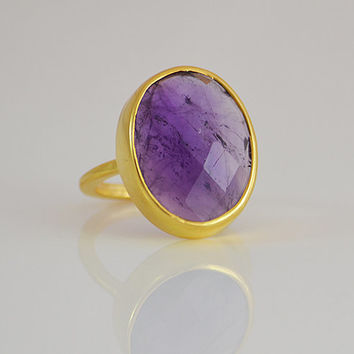 Large Faceted natural purple Amethyst Vermeil Gold oval stacking bezel set ring - February Birthstone