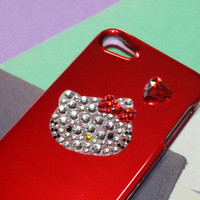 for iPOD TOUCH 5G 5TH GEN WHITE HELLO KITTY DIAMOND BLING RED HARD CASE COVER