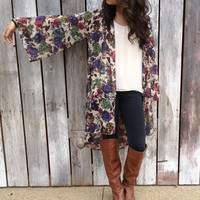 Vintage Florals Printed Kimono - American Threads