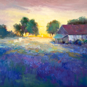 "Lavender Landscape Violet Flowers Unframed  11""H x 14""W  Original Oil Painting by Tina Wassel Keck - Oil on canvas - ""Lavender Farm"""