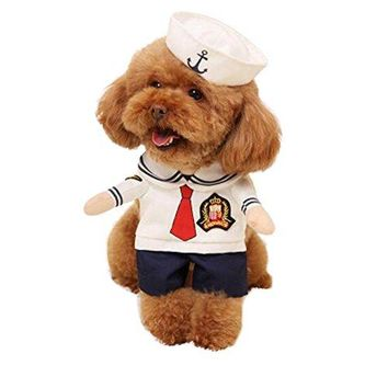 Dog Sailor Costume Navy Suit with Hat Halloween Christmas Pet Costumes for Puppy and Cat (XS)