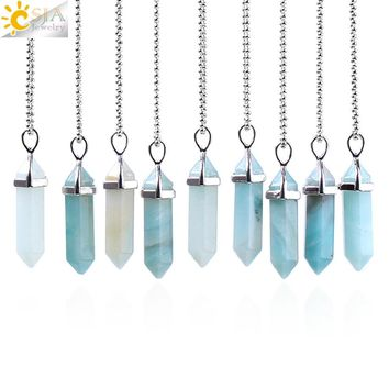 CSJA Hot Sale Hexagonal Column Necklaces Natural Stone Amazonite Pendant Two Sharp Angle Quartz Beads for Women Men Jewelry F185
