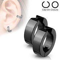 Hoops Pair of 316L Surgical Stainless Steel Non-Piercing WildKlass Ear Cuff Clip On Earrings