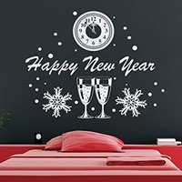 Wall Decal Merry Christmas Decals Happy New Year Vinyl Sticker Snowflakes Clock Home Decor Art Wall Decor Nursery Baby Room Bedroom NS920