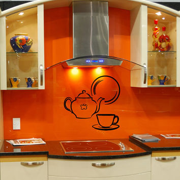 Wall Decal Vinyl Sticker Teapot and Cup and Dish Cafe Kitchen Art Design Room Nice Picture Decor Hall Wall Chu316