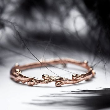 14k rose gold skinny stacking ring - twig band - In Her Dreams - RedSofa jewelry