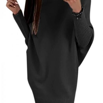 Black Long Sleeve Baggy Sweater Dress