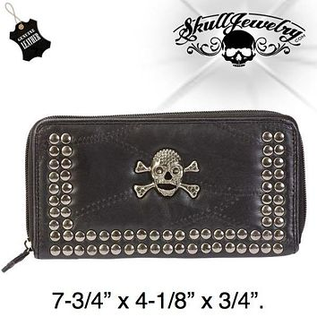 Lambskin Leather Wallet w/Studs & Skull (wallet016)