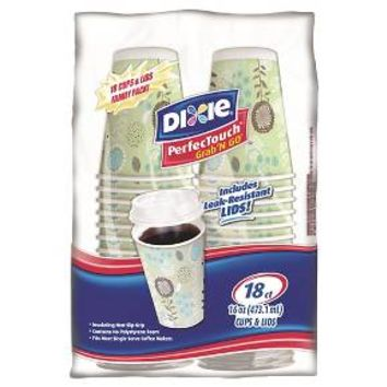 Dixie PerfecTouch Grab 'N Go Cups & Lids 18 Count (16 oz)