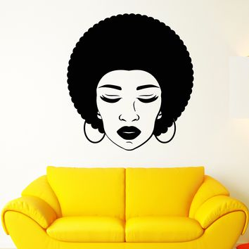Vinyl Wall Decal African Woman Face Hairstyle Girl Lips Beauty Salon Stickers (2671ig)