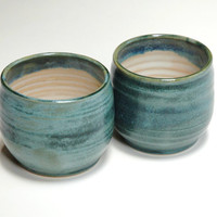 Pottery Yunomi,Clay Espresso Cups,teal teacups,mug no handle,stoneware tumblers,wine cups,teal clay mugs,ceramic tea cups,pottery drinkware
