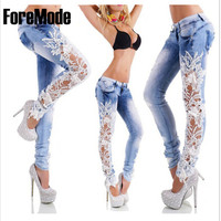 2015 European Style fashion Lace Sexy Hollow Out Flower Hook Tight Feet Pencil Pant Long Jeans Free Shipping