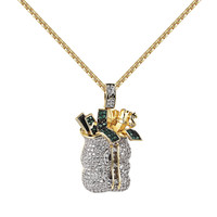 Custom Money Bag Pendant 14k Gold Finish Lab Diamonds Money Tank Iced Out