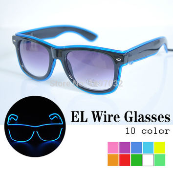 Free ship EL glasses El Wire Fashion Neon LED Light Up Shutter Shaped Glow Sun Glasses Rave Costume Party DJ Bright Glasses