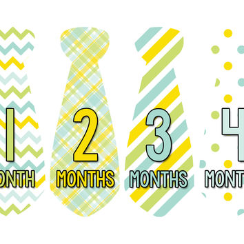 Baby Boy Monthly Necktie Milestone Birthday Tie Stickers Style #709