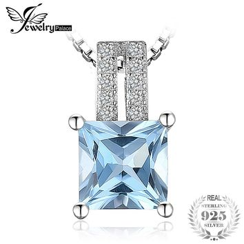 JewelryPalace 1.3ct  princess-cut Sky Blue Topaz Wedding Anniversary Pendant Necklaces 100% 925 Sterling Silver 45cm Box Chain