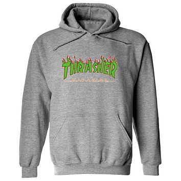 Thrasher Fashion New Bust Flame Letter Print Women Men Hooded Long Sleeve Sweater Gray