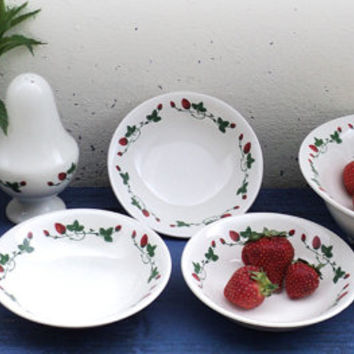 Le Fraisier, Strawberries 10 pieces Berry Set, Fruit Drainer, Bowl, Sugar Shaker, Gien France, French Dinnerware, Summer Tableware, Dishware