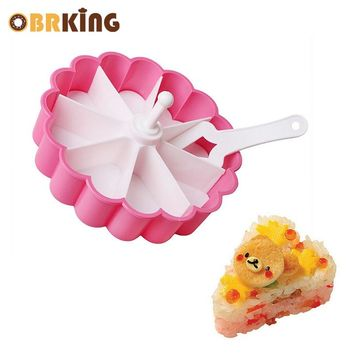 OBRKING Plastic Cake Tart Mold Pink+White Flower Shape Sushi Cake Pizza Cutter Mold DIY Fondant Baking Pastry Tools With Spatula