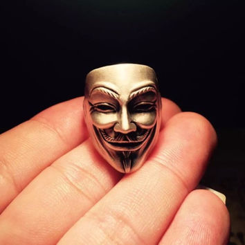 Men Vintage V for Vendetta Face Mask Ring with Gift Box [9595420111]
