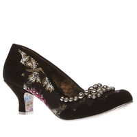 womens irregular choice black & silver pearly dazzler low heels