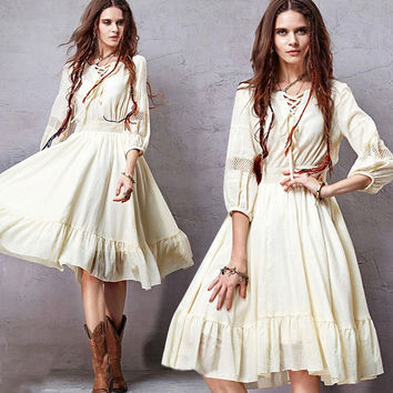 Beige Vintage Puff Sleeve Lace-up Flounce Midi Dress