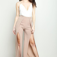 Taupe Side Wrap Palazzo Pants