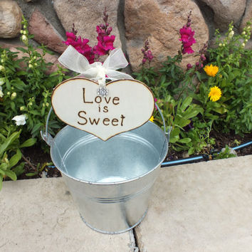 Candy Buffet Galvanized Bucket With Love Is Sweet Heart Candy Bar Sweets Table Wedding Favor Bucket Rustic Wedding Country Wedding Decor