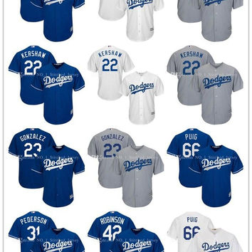 Men's Los Angeles Dodgers Jersey Adrian Gonzalez 23# Clayton Kershaw 22 Corey Seager 5 Majestic Royal Alternate Cool Base 100% stitched